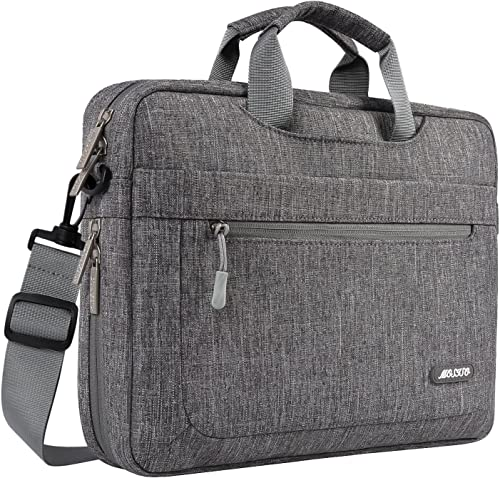 MOSISO Laptop Shoulder Bag Compatible with 17-17.3 inch MacBook Dell HP Lenovo Acer Asus Samsung Sony, Polyester Messenger Carrying Briefcase Sleeve with Adjustable Depth at Bottom, Gray