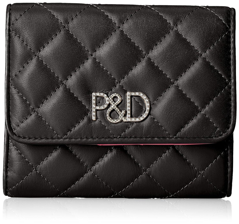 [ピンキーアンドダイアン] 折財布 【ドンナ】キルティング P&Dロゴ金具 PDLW7LS1 B0784SZ4BC  ブラック