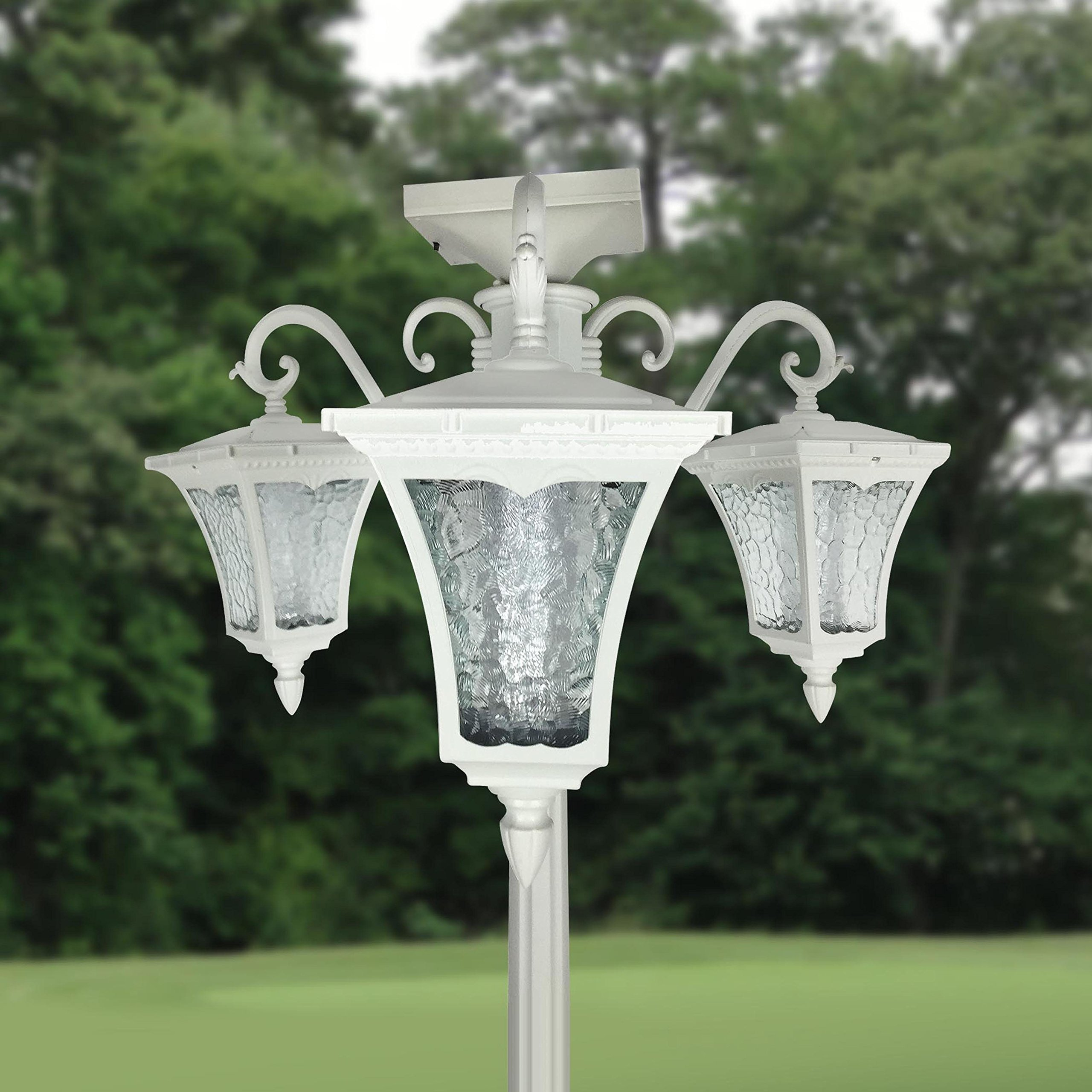 Outdoor Lighting, Outdoor Solar Lights, Outdoor Post Lighting, Solar Lamp Post, 80-inch High Three Head Solar Lamp Post and Planter