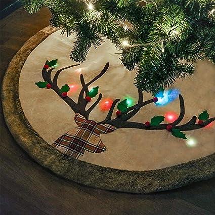 teresas collection 48 woodland reindeer christmas tree skirt fur trim with led light woodland - Woodland Christmas