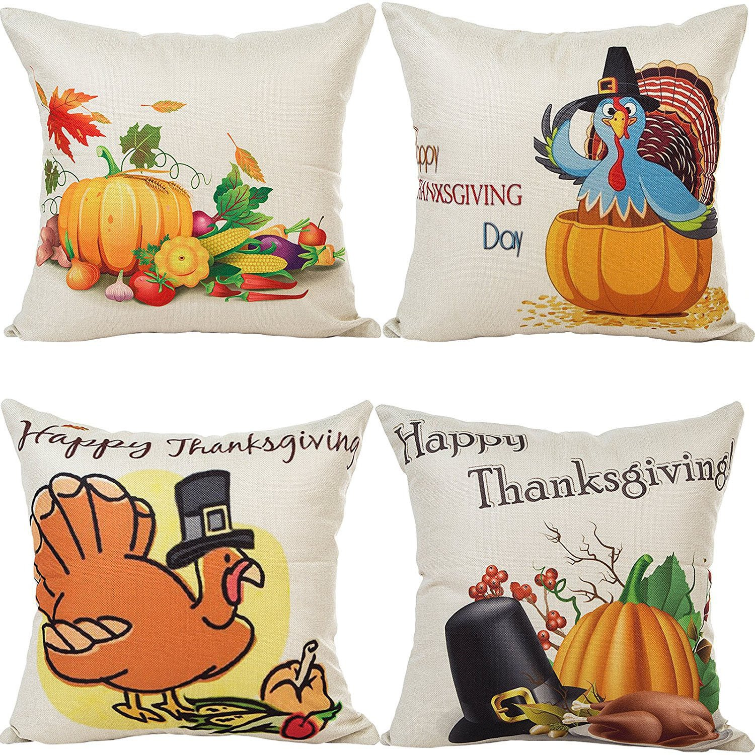 4 X Happy Thanksgiving Style Cotton Linen Pillow Cover Square