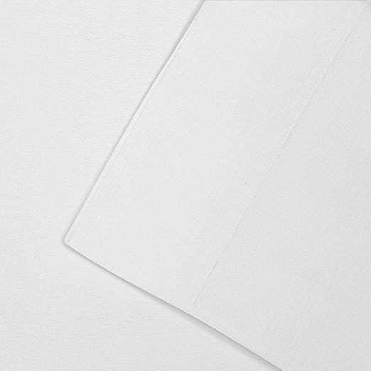 Impressions Superior - Juego de sábanas de franela 96 x 203 cm, de algodón, color blanco liso: Amazon.es: Hogar