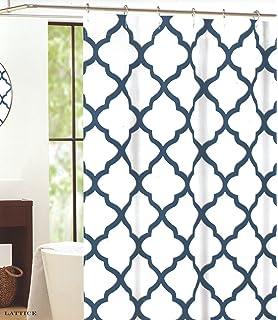 Max Studio Home Cotton Shower Curtain Moroccan Tile Quatrefoil Blue Silver  and White Lattice 72 Amazon com  Max Studio 100  Cotton Shower Curtain Wide Stripes  . Blue And Silver Shower Curtain. Home Design Ideas