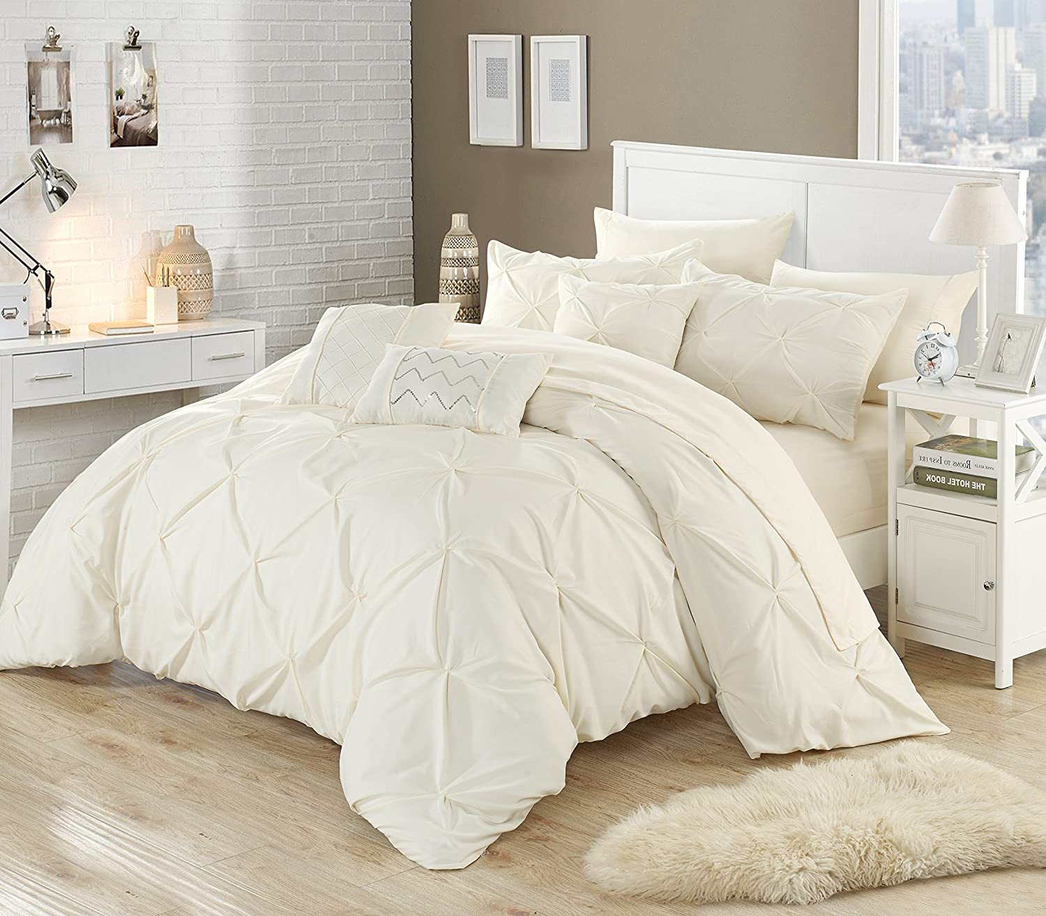 Chic Home 8 Piece Zita Pinch Pleated, ruffled and pleated complete Twin Bed In a Bag Comforter Set Beige Sheets set and Decorative pillows included