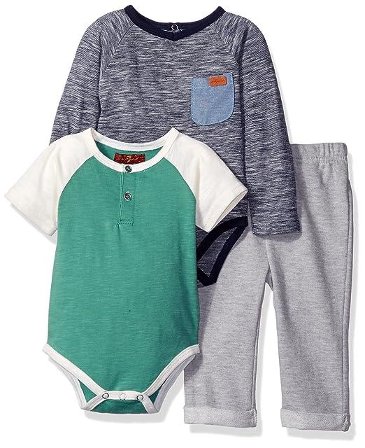 Amazon.com: 7 For All Mankind bebé Boys 3 piezas Body y ...