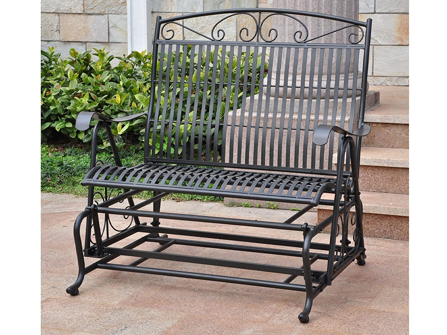 International Caravan Tropico Iron Patio Glider Loveseat in Black