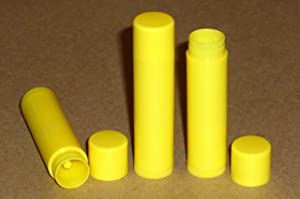 25 NEW Empty BRIGHT YELLOW Lip Balm Chapstick Tubes Containers .15 oz / 5 ml Tube Make Your Own Chapstick Lip Balm DIY At Home with Caps