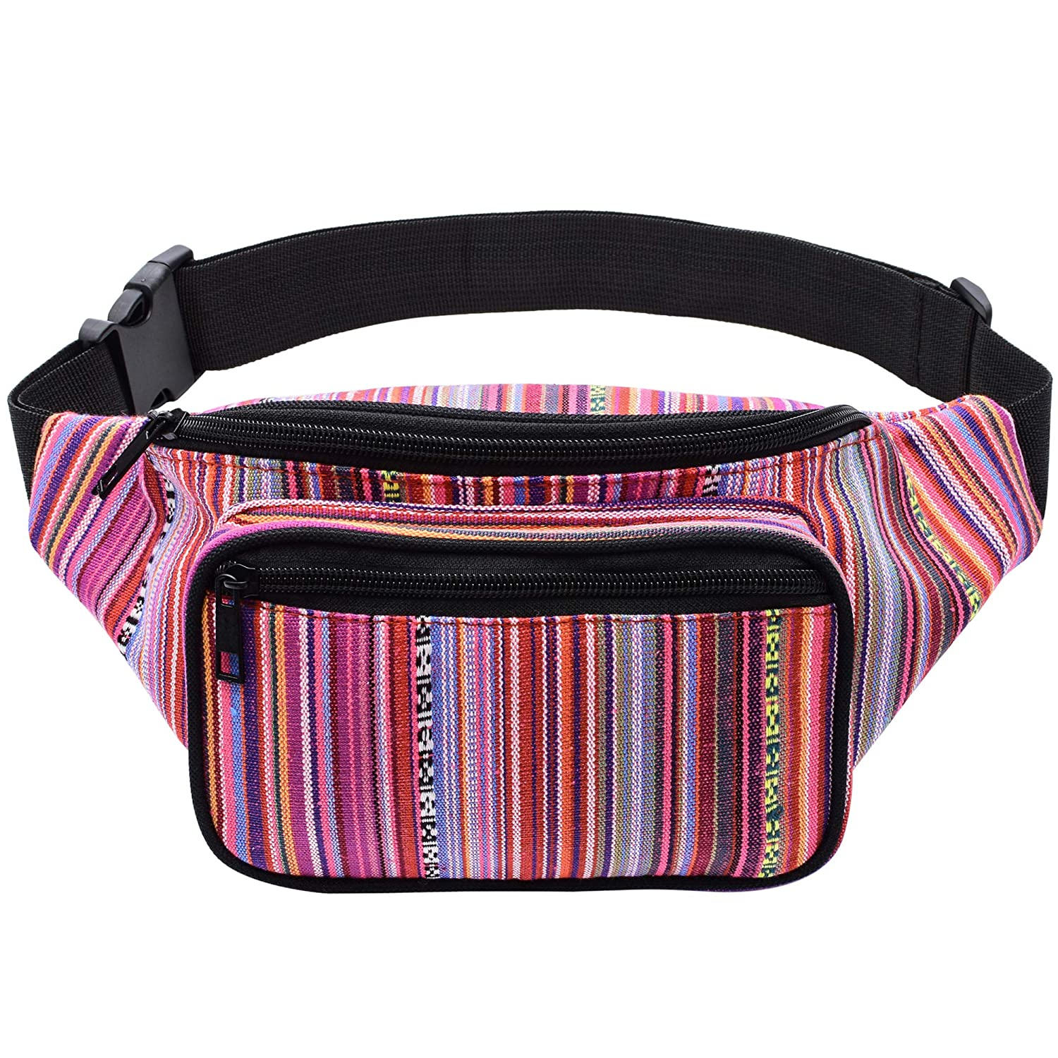 Kayhoma Boho Fanny Pack Stripe Festival Rave Bum Bags Travel Hiking Hip Waist Belt Purse yb008-2