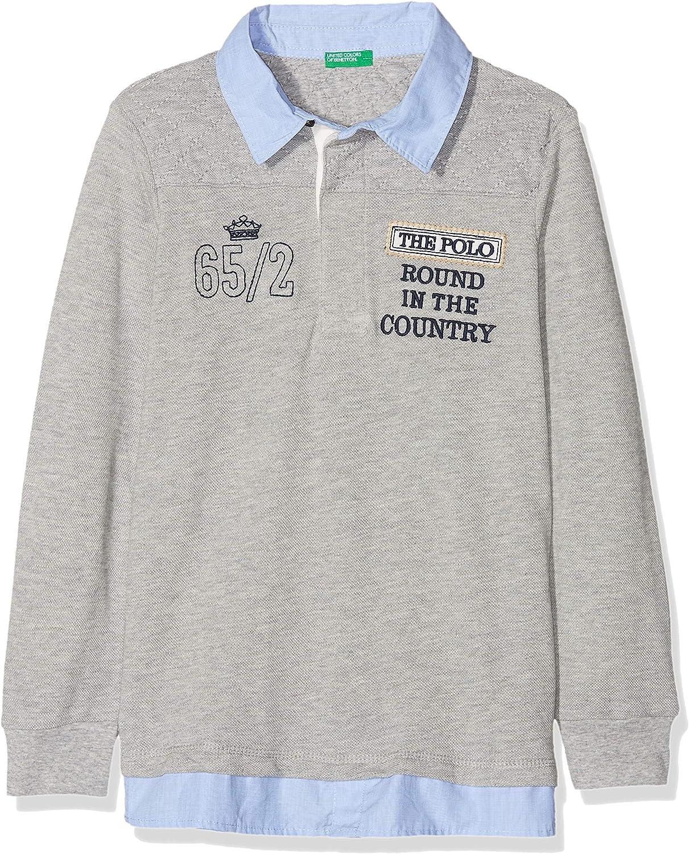 United Colors of Benetton L/s Polo Shirt, Gris (Melange Gray 501 ...