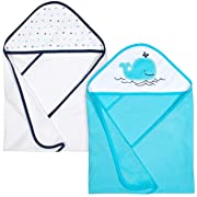 Gerber 2-Piece Hooded Bath Towel, Whale, 26 x 30