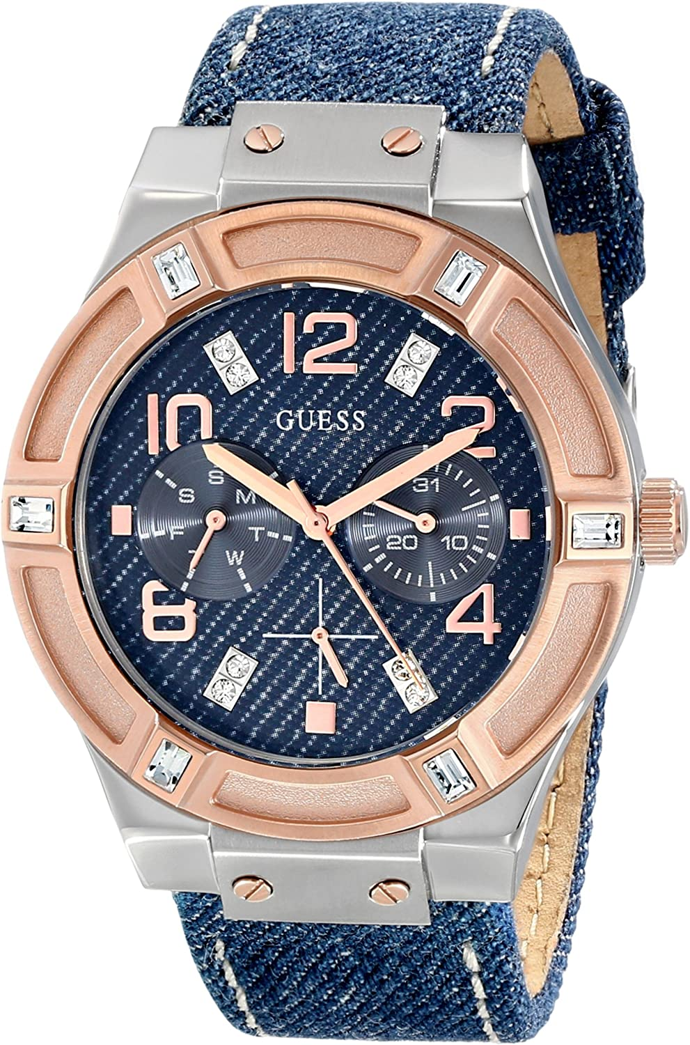 GUESS Women s U0289L1 Silver and Rose Gold-Tone Multi-Function Watch with Denim Strap