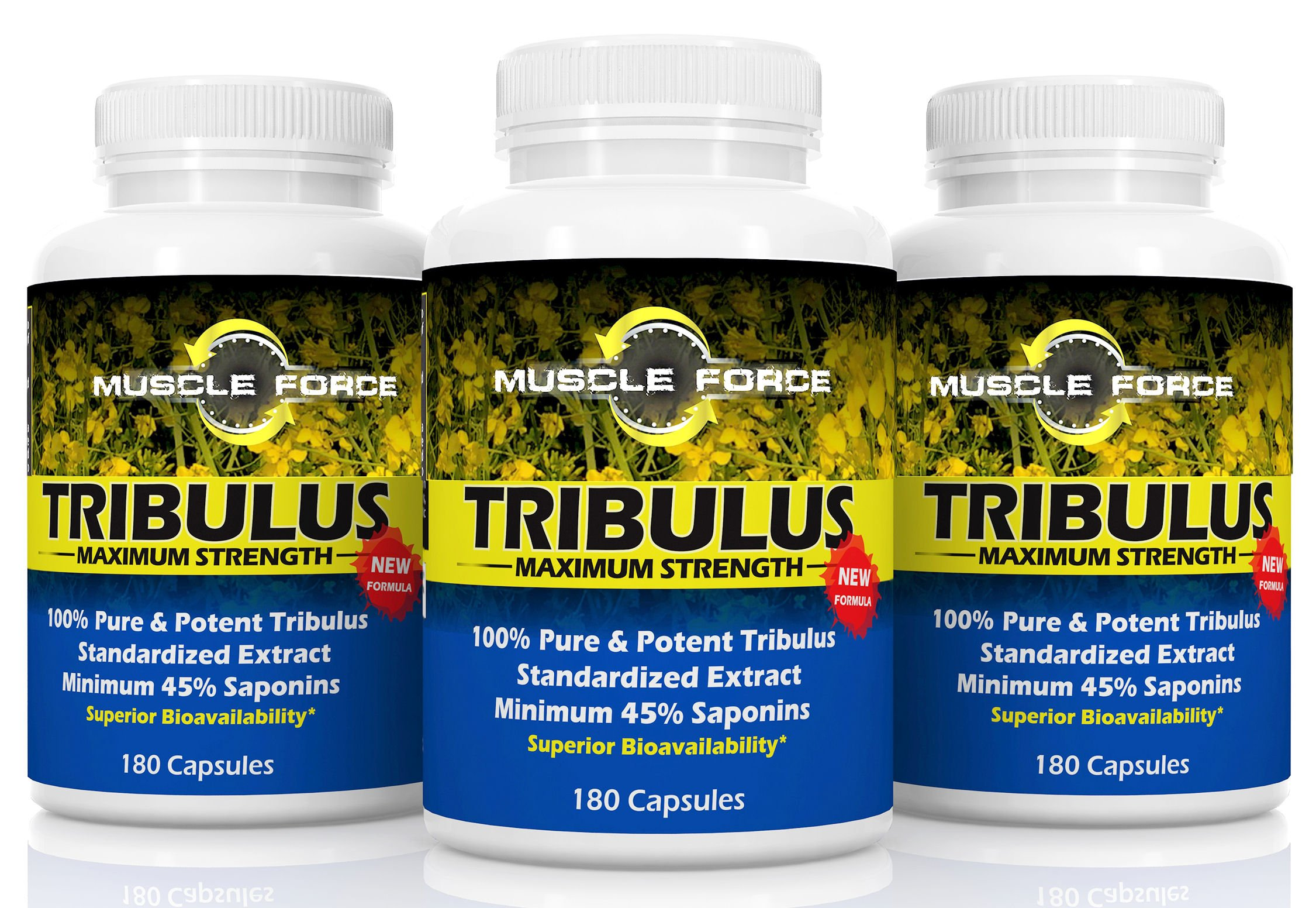 #1 Rated Muscle Force Tribulus Terrestris | Three Bottle Pack - 540 Capsules | 1500mg of Bulgarian Tribulus | 45% Saponins | New BIOAVAILABILITY Factor | Maximize Testosterone Levels | Ships Free