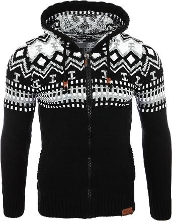 TALLA M. Reslad Jersey de punto para hombre noruego invierno de punto chaqueta sudadera con capucha RS-3104