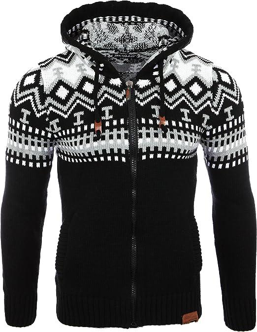 jersey de punto de invierno MAXMODA Sudadera con capucha para hombre corte ajustado sudadera con capucha