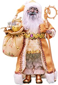 "Windy Hill Collection 16"" Inch Standing Gold African American Black Santa Claus Christmas Figurine Figure Decoration 416050A"