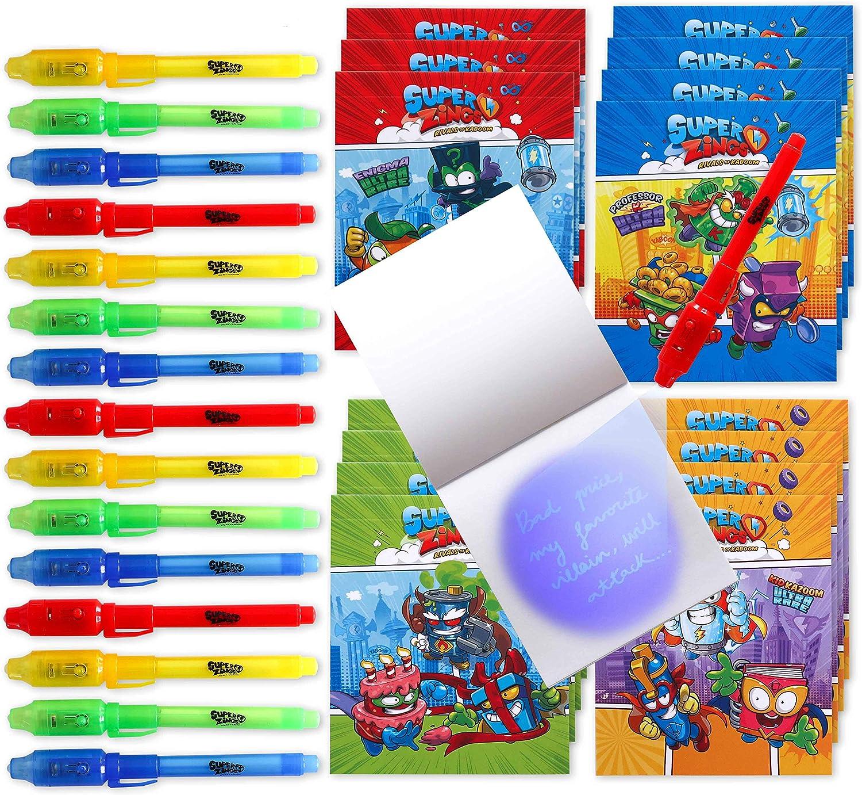 BONNYCO SuperZings - Bolígrafo Tinta Invisible y Libreta Pack x 16 Cumpleaños Niños Colegio, Detalles Cumpleaños Infantiles o Relleno Piñata   Regalos para Niños en Comunión y Boda