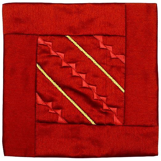 Funda de cojin de color granate/rojo, hecha de seda de la ...