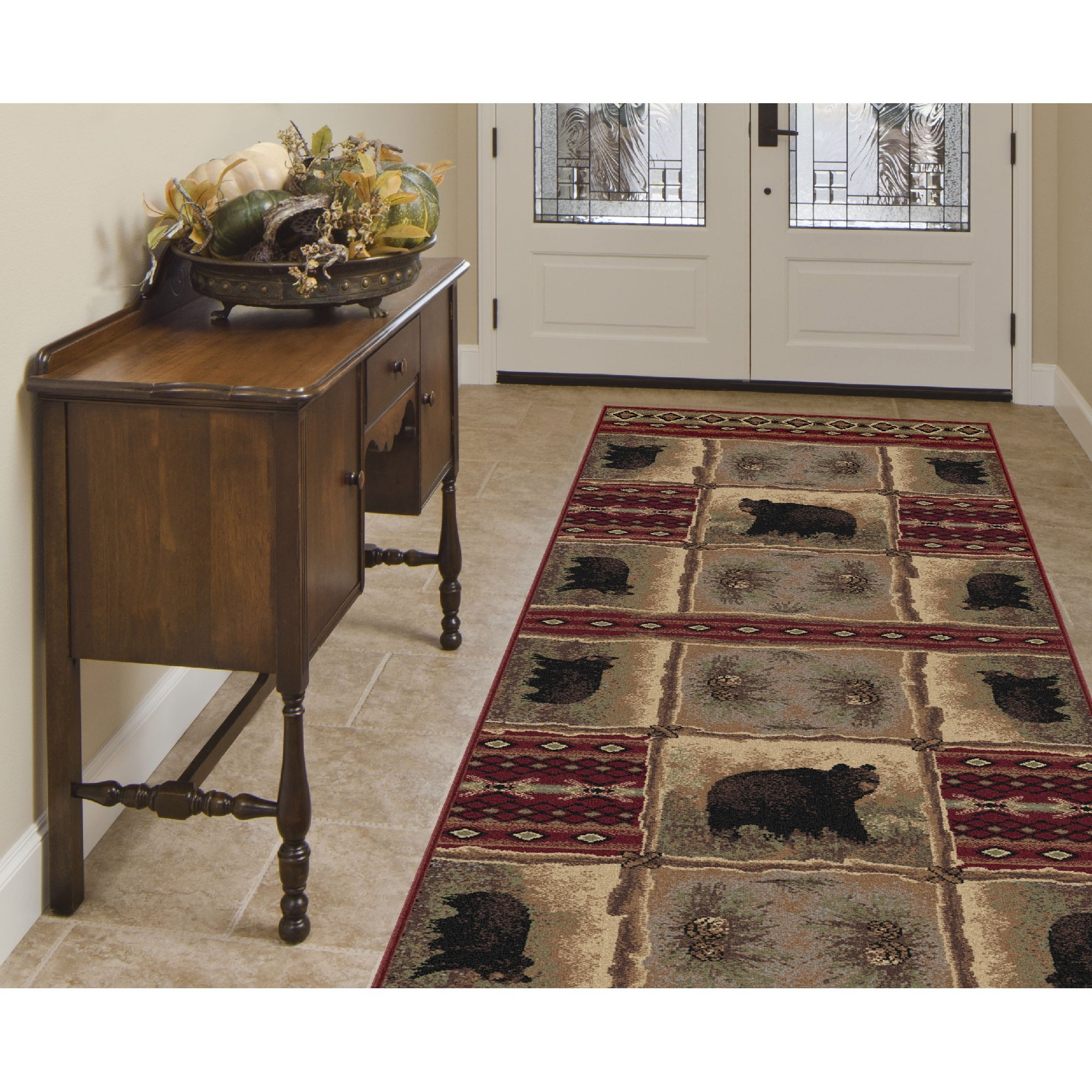 Tribal Geometric Blocks Patterned Area Rug, Exotic Flowers Geo Circles Bears Themed, Runner Indoor Hallway Doorway Living Area Bedroom Cabin Carpet, Western Animal Lovers Design, Red, Size 2'7 x 7'3