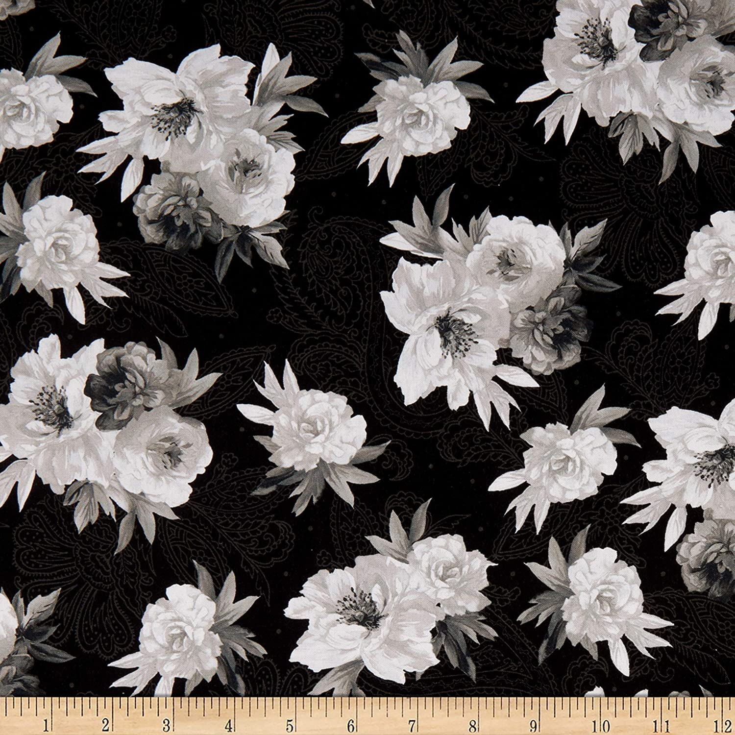 Amazon Com Maywood Studio Nocturne Flowers On Paisley Black Quilt Fabric By The Yard