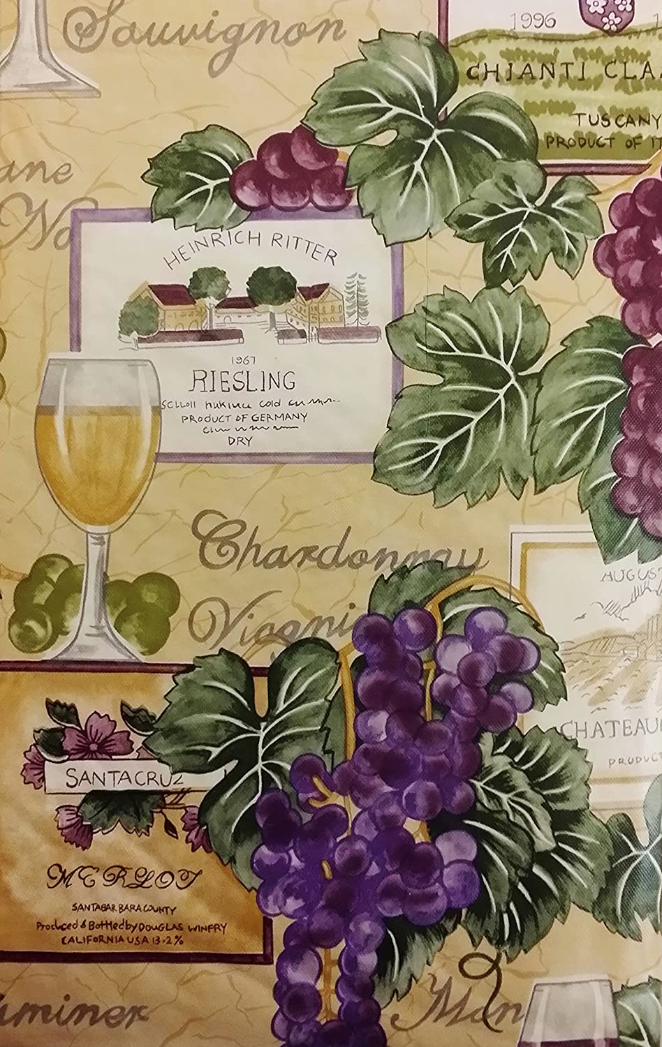 """Tuscan Themed Vinyl Flannel BackTablecloths - Wine and Grapes (60"""" Round)"""