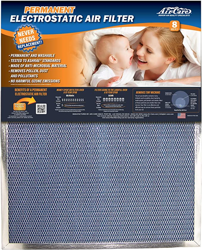 Electrostatic Washable Permanent A//C Silver Steel Frame 65/% more efficiency 18x36x1 Lifetime Air Filter