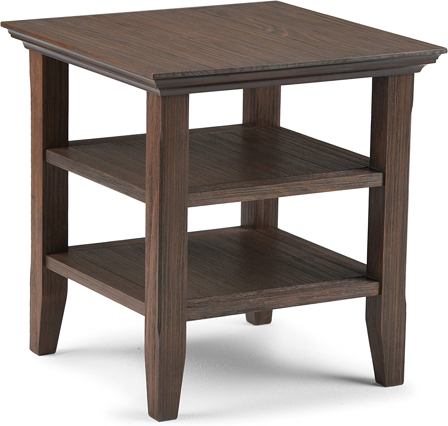 Simpli Home AXWELL3-003-FB Acadian Solid Wood 19 inch Wide Square Rustic End Table in Farmhouse Brown