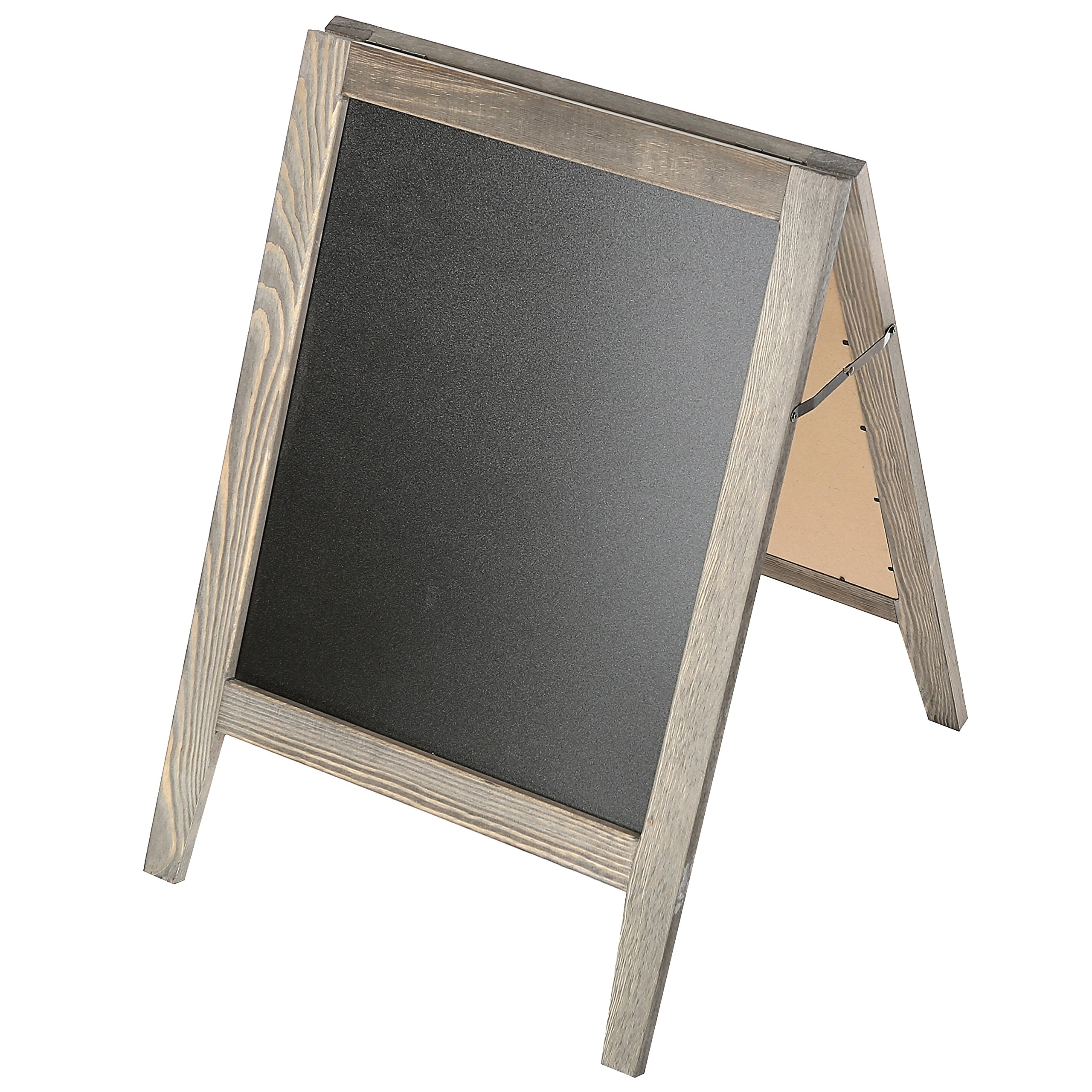 Rustic Stained Vintaged Wooden Freestanding A-Frame Double-Sided Chalkboard Sidewalk Sign by MyGift (Image #3)
