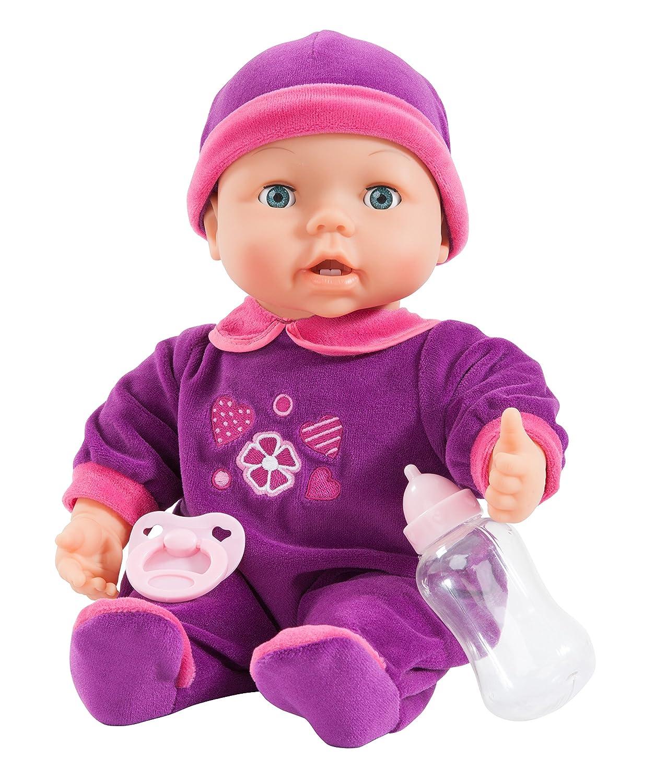 Bayer Design 93842 - Funktionspuppe Magic Teeth Baby - ihr wächst ein erster Zahn, inklusiv Fläschchen und Schnuller, 38 cm