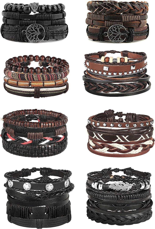 Jstyle 28Pcs Braided Leather Bracelet for Men Women Wooden Beaded Cuff Wrap Bracelet Adjustable C