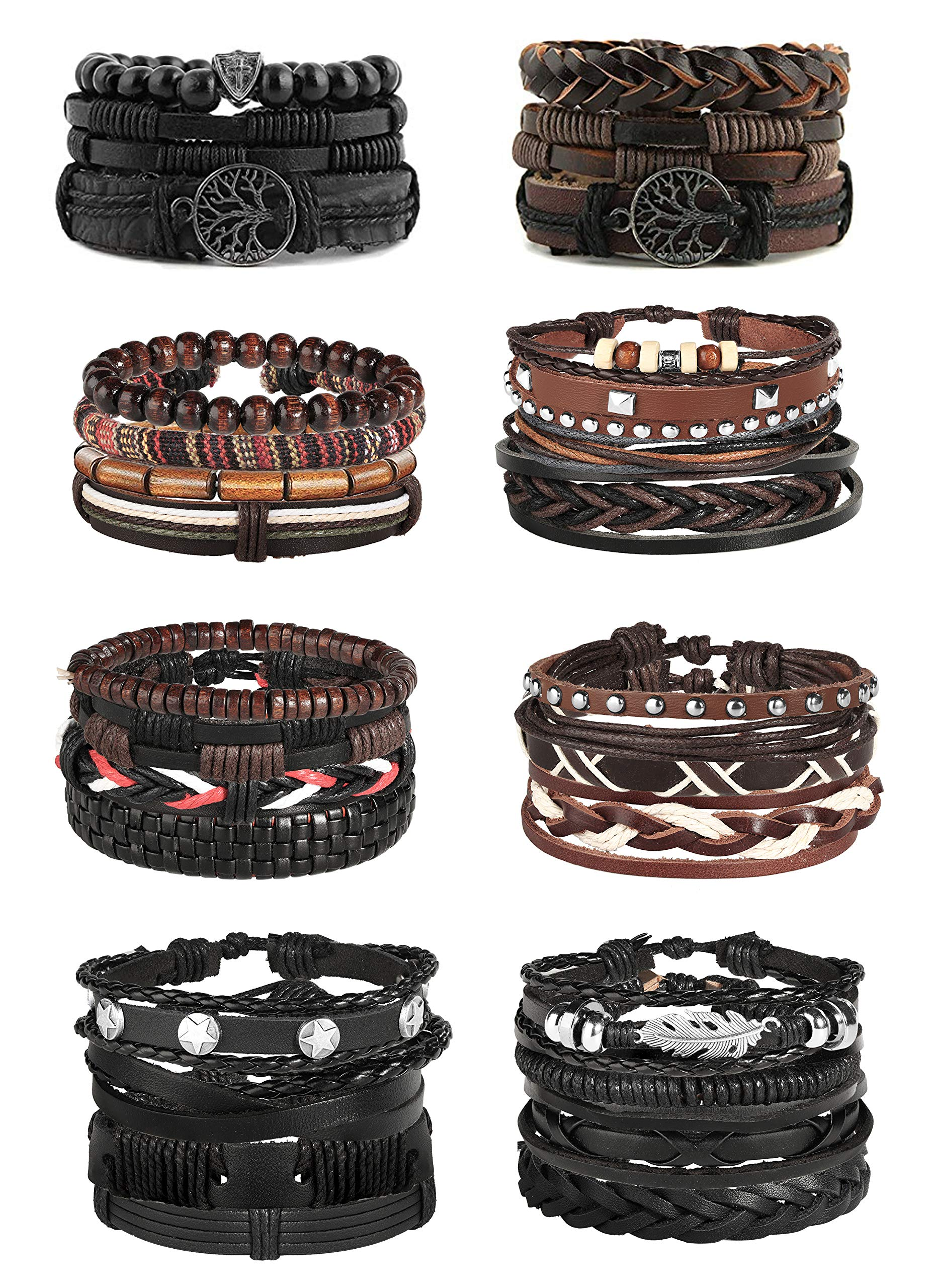 Jstyle 28Pcs Braided Leather Bracelet for Men Women Wooden Beaded Cuff Wrap Bracelet Adjustable C by Jstyle