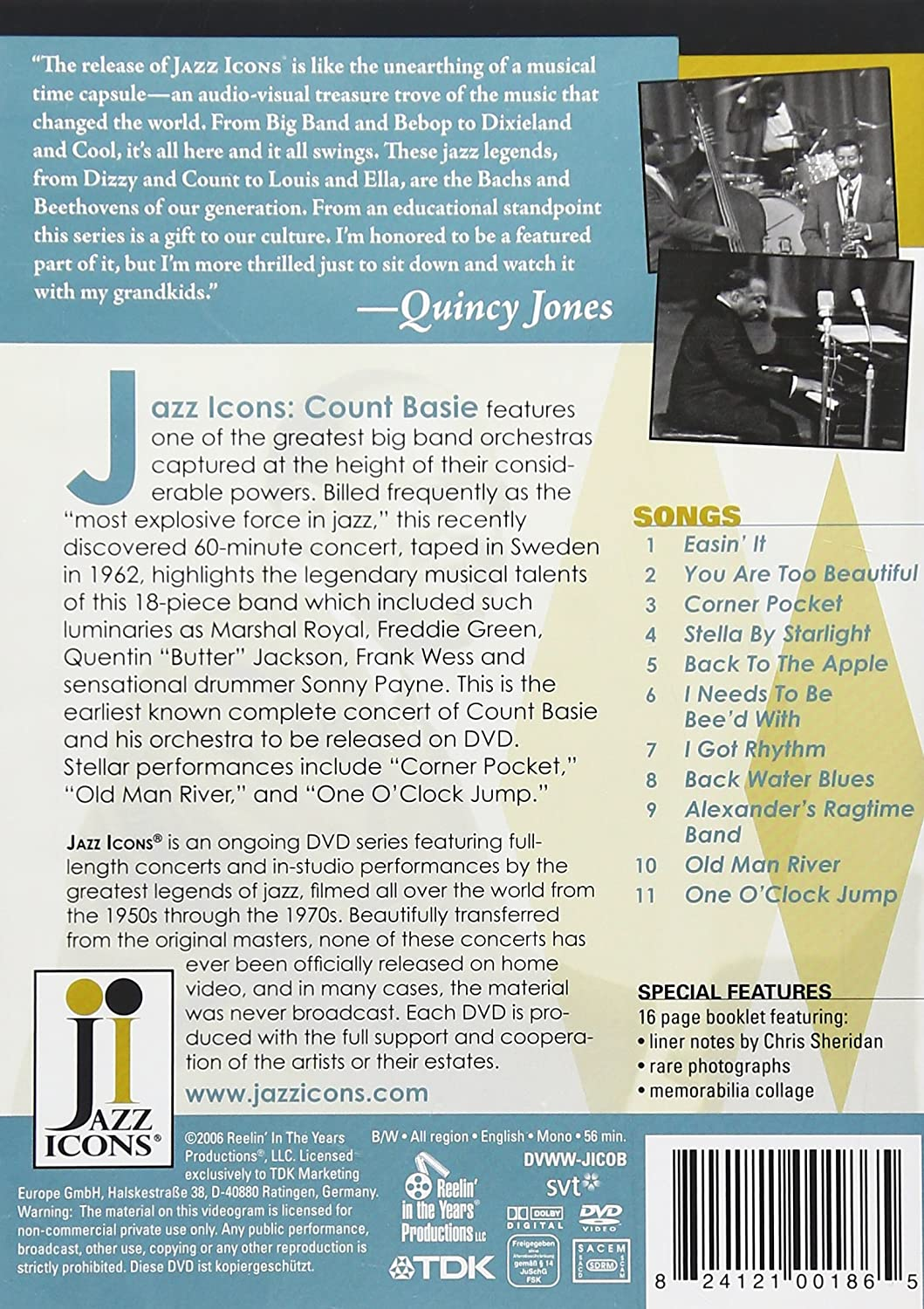 Amazon com: Jazz Icons: Count Basie Live in '62: Count Basie, Frank