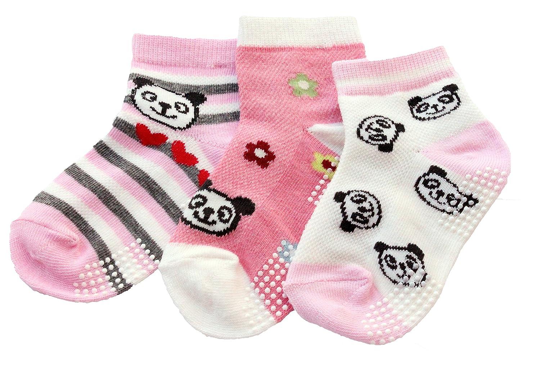 3 Pairs Girls Kids Summer Mesh Ankle Socks Pink Panda Age 2/3/4/5/6 Non-slip