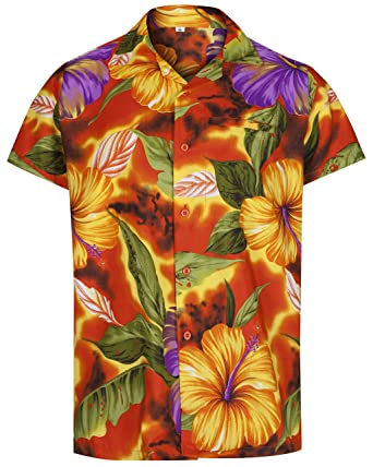 d4c022f7 Mens Hawaiian Shirt Short Sleeve STAG Beach Holiday Hibiscus Flower Fancy Dress  Hawaii (Medium, Orange): Amazon.co.uk: Clothing