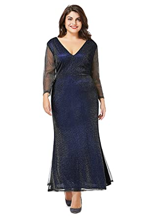Myfeel Plus Size Evening Ankle Length Dress With Long Sleeves