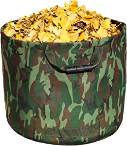 Leaf Bag Garden Lawn Yard Waste Tarp Container Gardening Tote Trash Reusable Heavy Duty Canvas Fabric (Bag Camo)