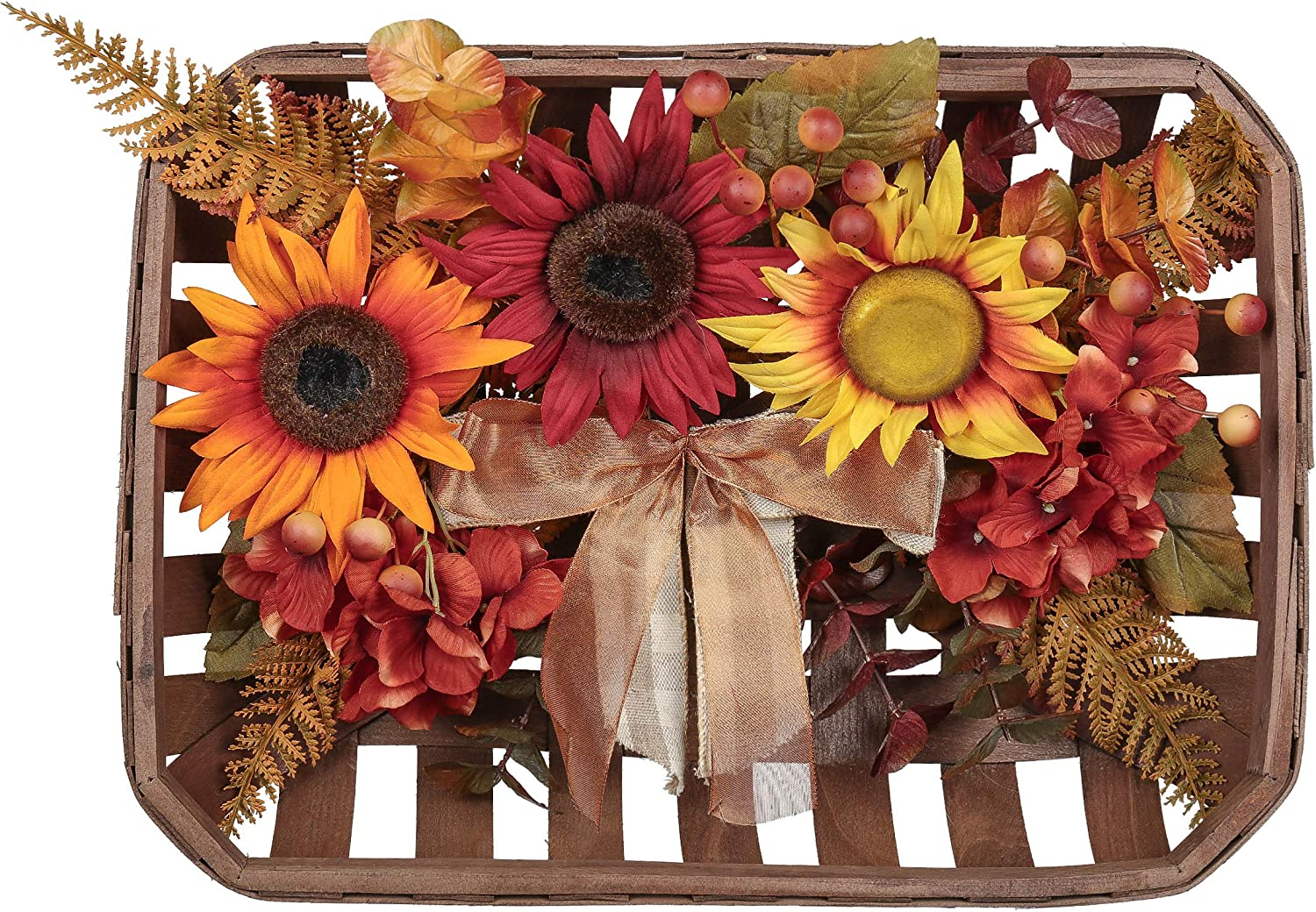 Valery Madelyn Decorative Fall Wreath for Home Decor, Tobacco Basket Wreath with Sunflowers Berry Clusters Bows for Farmhouse Rustic Wall Thanksgiving Halloween Christmas Indoor Window Decoration
