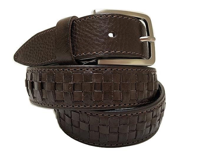 e38a5bea2855 Cintura Uomo intrecciata - 100% Vera pelle di prima scelta - Lavorazione a  mano - Made in italy  Amazon.it  Abbigliamento