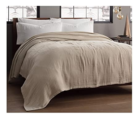 Review Kenneth Cole Reaction Home Soft & Cozy Reversible Cotton Woven Blanket - King - Taupe