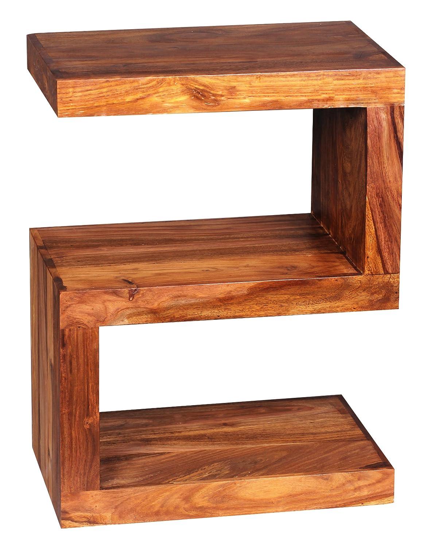 Wohnling Beistelltisch Massiv Holz Sheesham 60 Cm Wohnzimmer Tisch Design Landhaus Stil Couchtisch Natur Produkt Standregal Unikat Zeitungshalter