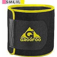 GROOFOO Waist Trimmer Belt, Neoprene Waist Sweat Trainer for Women & Men Weight Loss, Yellow