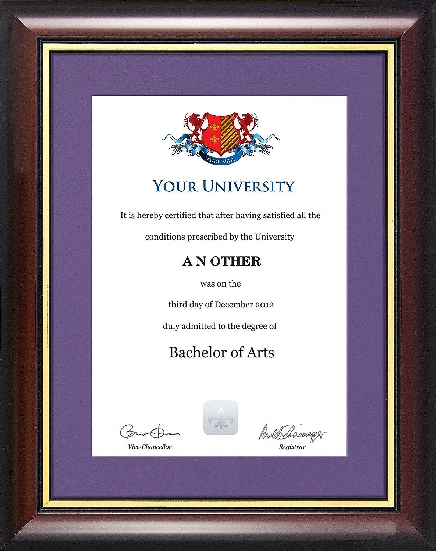Cornice per certificato di laurea; stile tradizionale (certificato non incluso) Pink Graduation Attire