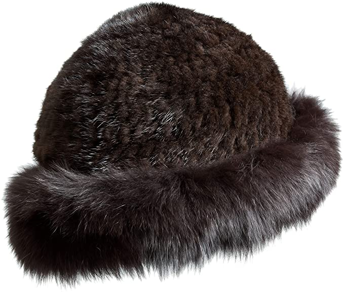 20cb7322a2a0bd Image Unavailable. Image not available for. Color: Overland Sheepskin Co Knitted  Danish Mink Fur Cloche Hat with Finnish Fox Fur Trim