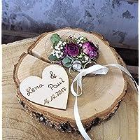 Almohadilla anular porta anillas disco de madera Mille Fleurs con nombre a la boda