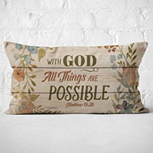 With God All Things are Possible Throw Pillow Case, Christian Decor, Christian Gift, Church Gifts, Christian Gifts for Women, 20 x 12 Inch Linen Cushion Cover for Sofa Couch Bed,Matthew 19:26