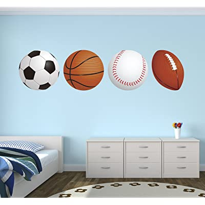"Sports Balls Football Basketball Soccer Baseball Wall Decal Vinyl Nursery Boy Kid Play Stickers (40"" x 10""): Baby"