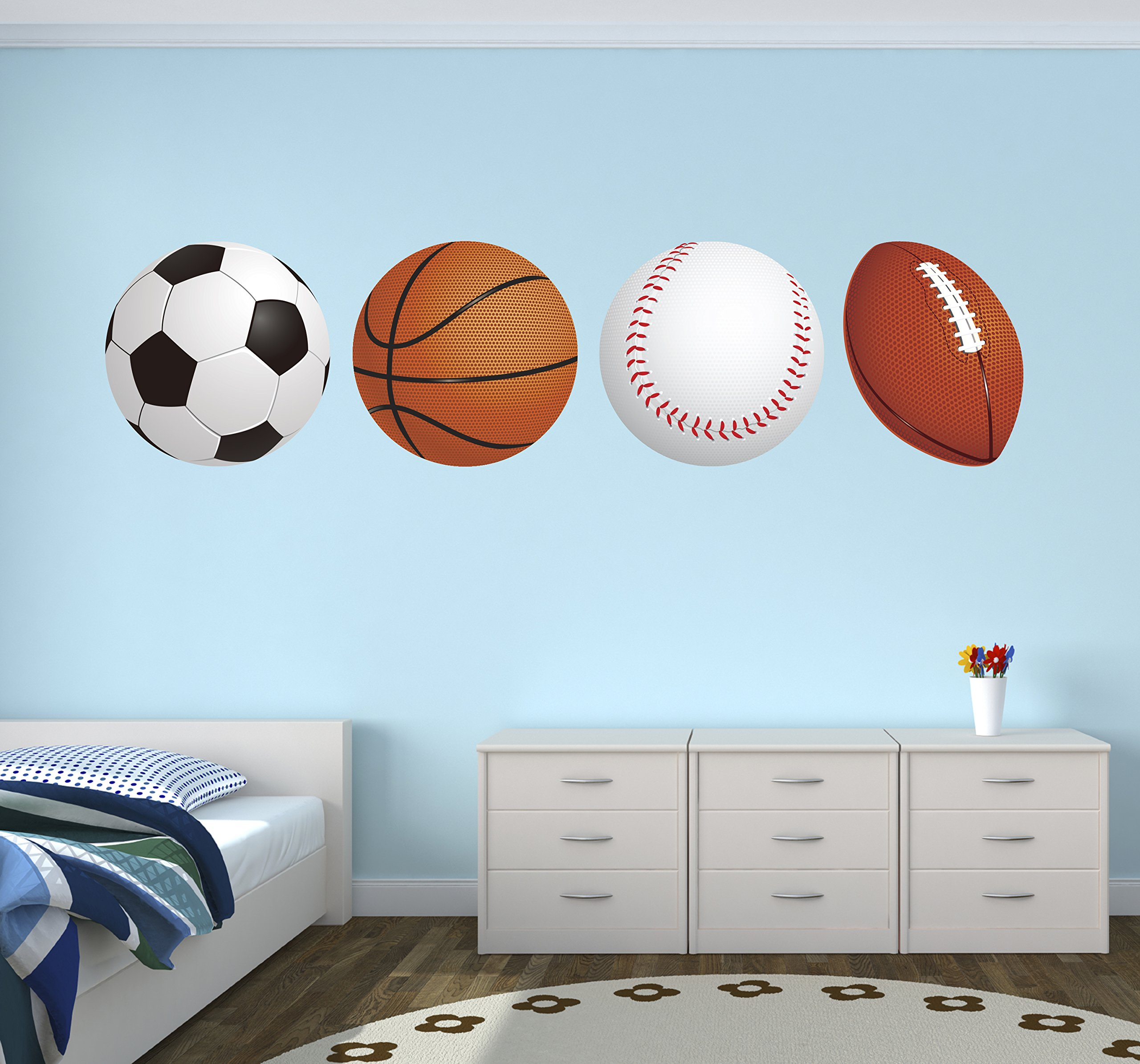 Sports Balls Football Basketball Soccer Baseball Wall Decal Vinyl Nursery Boy Kid Play Stickers (40'' x 10'')
