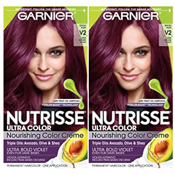 Garnier Nutrisse Ultra Color Nourishing Permanent Hair Color Cream, V2 Dark  Intense Violet (2 Count) Purple...