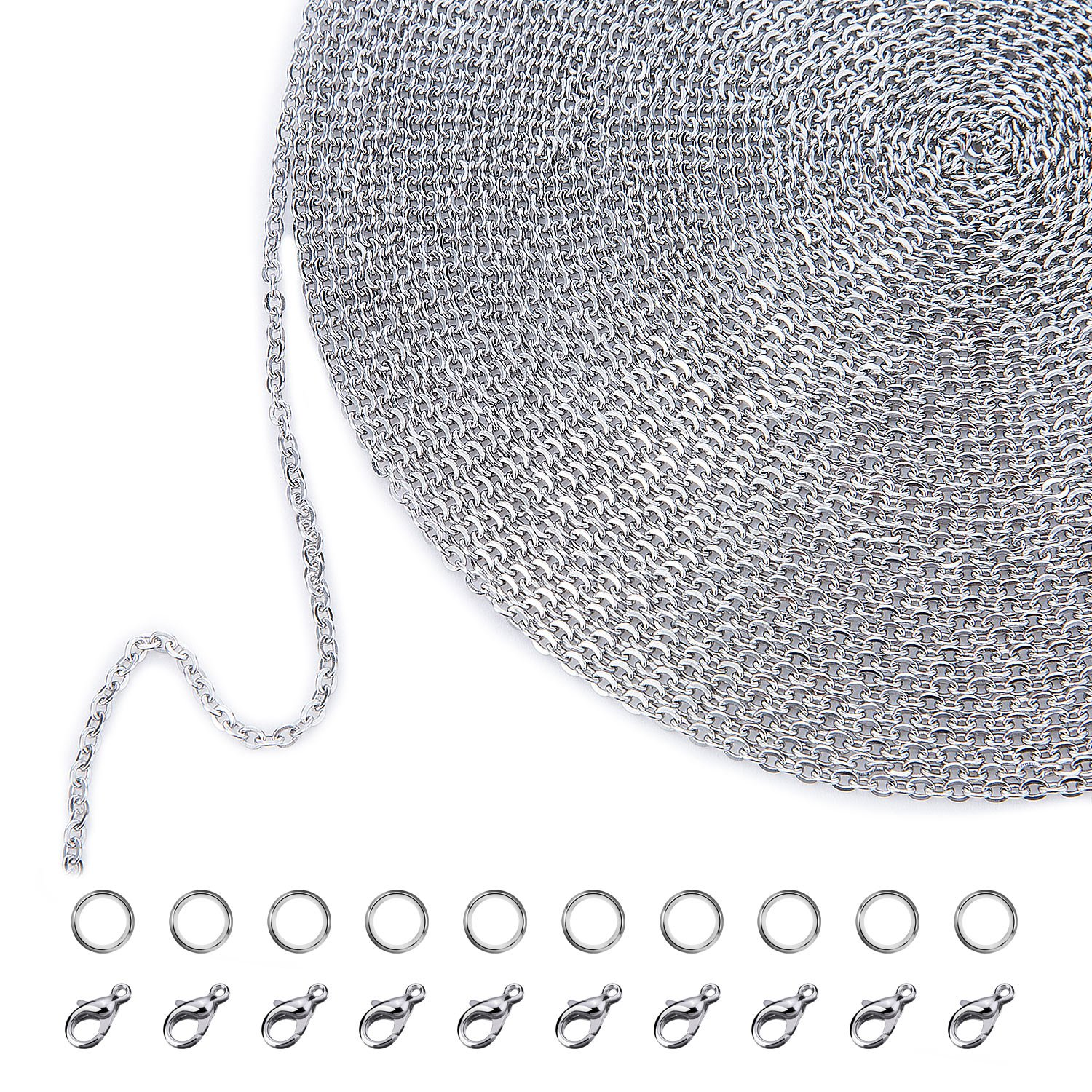 Outus 33 Feet Stainless Steel DIY Link Chain Necklaces with 20 Lobster Clasps and 30 Jump Rings for Jewelry Making 2.5 mm
