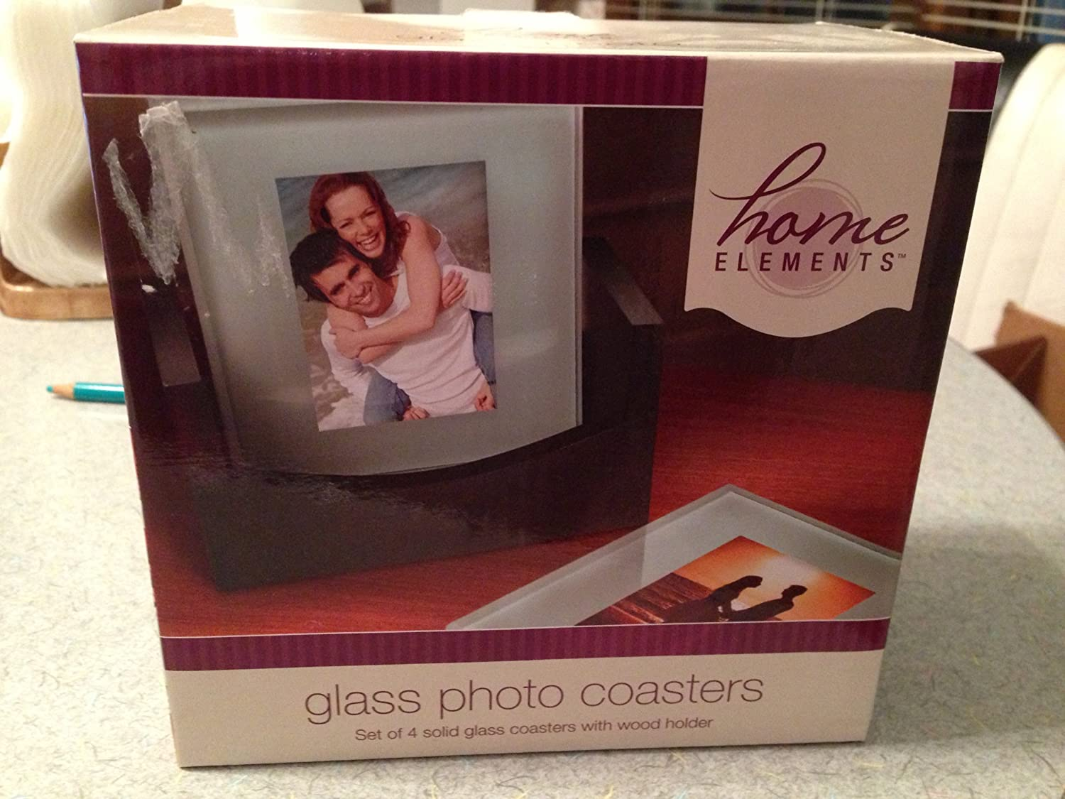 Home Elements Glass Photo Coaster COMINHKR041564