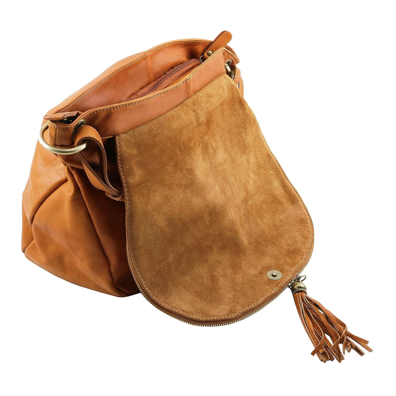 Amazon.com  Tuscany Leather - TL Bag - Soft leather shoulder bag with tassel  detail Dark Blue - TL141110 107  Fendess. 4dff9c0cfc263